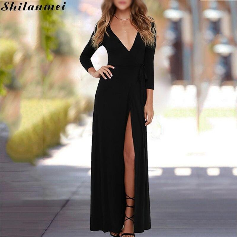 robe noire longue romantic dress boho split Slim sexy black V neck Long Floor Length femme women Vestido mujer Festa longo 2018