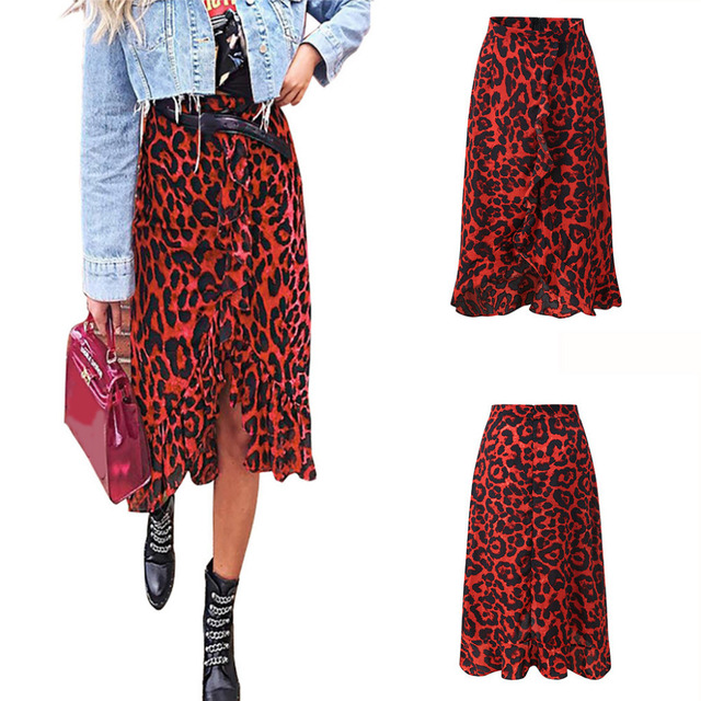 Leopard Print Vintage Long Women's Casual High Waist Pleated Asymmetrical Ruffle Skirt Winter Irregular Casual Red Skirt_3.11