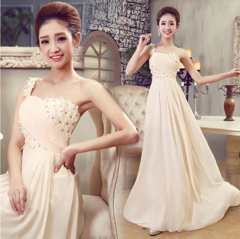 Cheap New 2016 Elegant vestido de noiva champagne color one shoulder long party chiffon plus evening dress vestidos longo Gown