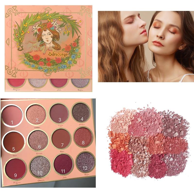 12 Colors Swedish Fairy Eyeshadow Palette Oden's Eye Freja Diva Eye Shadow Palette Makeup Matte Shimmer Glitter Pigmented Girls