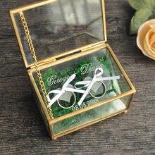 כפרי חתונה נושא טבעת תיבת גיאומטרי טבעת מחזיק קופסא, חתונה אישית טבעת תיבת זכוכית
