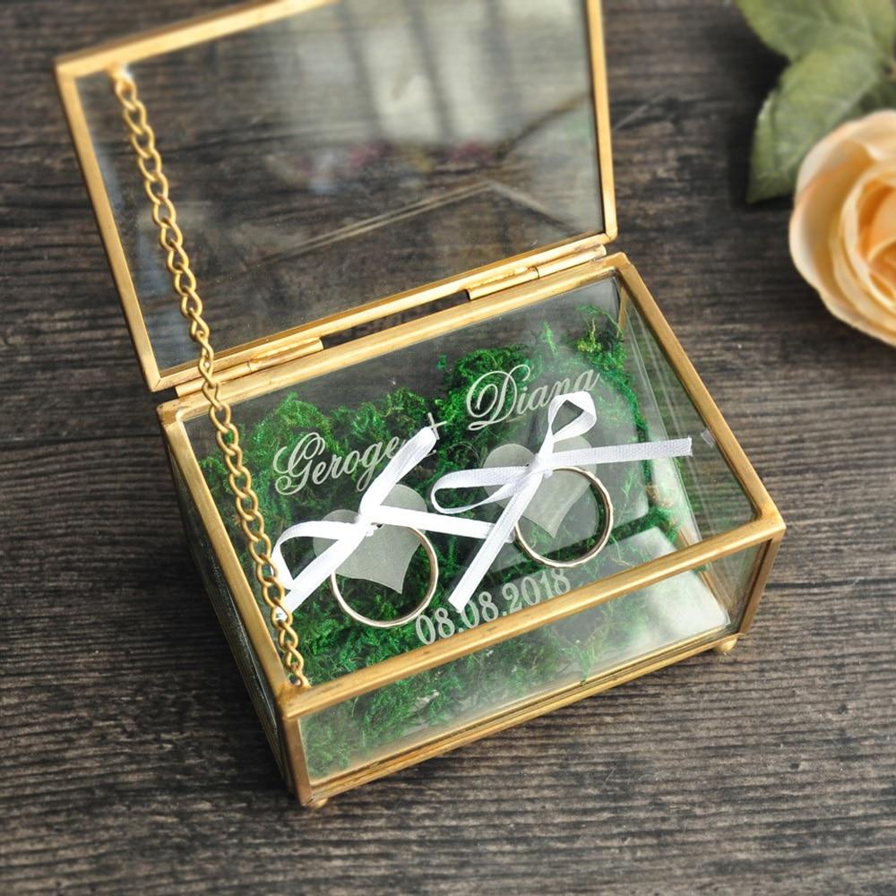 Rustic Wedding Ring Bearer Box Geometric Ring Holder Box