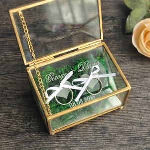 Image 1 - Rustic Wedding Ring Bearer Box Geometric Ring Holder Box, Personalized Wedding Ring Box Glass