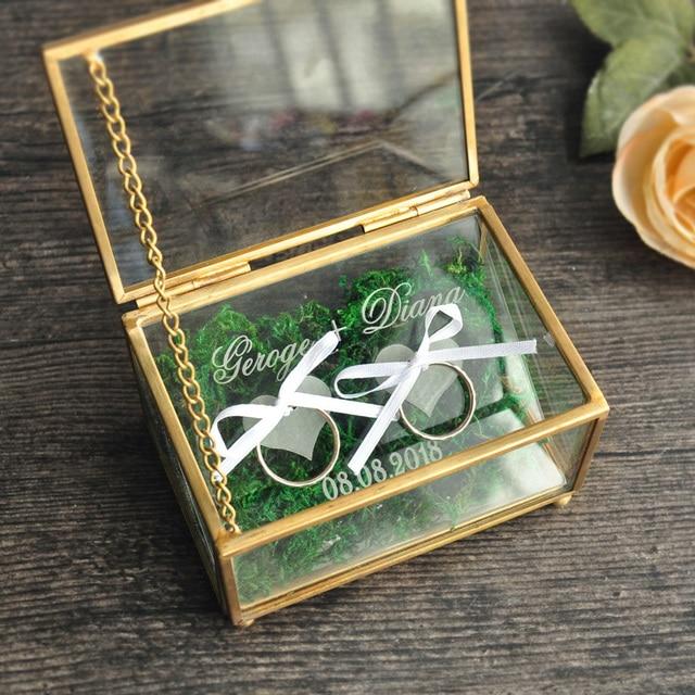 Rustic Wedding Ring Bearer Box Geometric Ring Holder Box, Personalized Wedding Ring Box Glass
