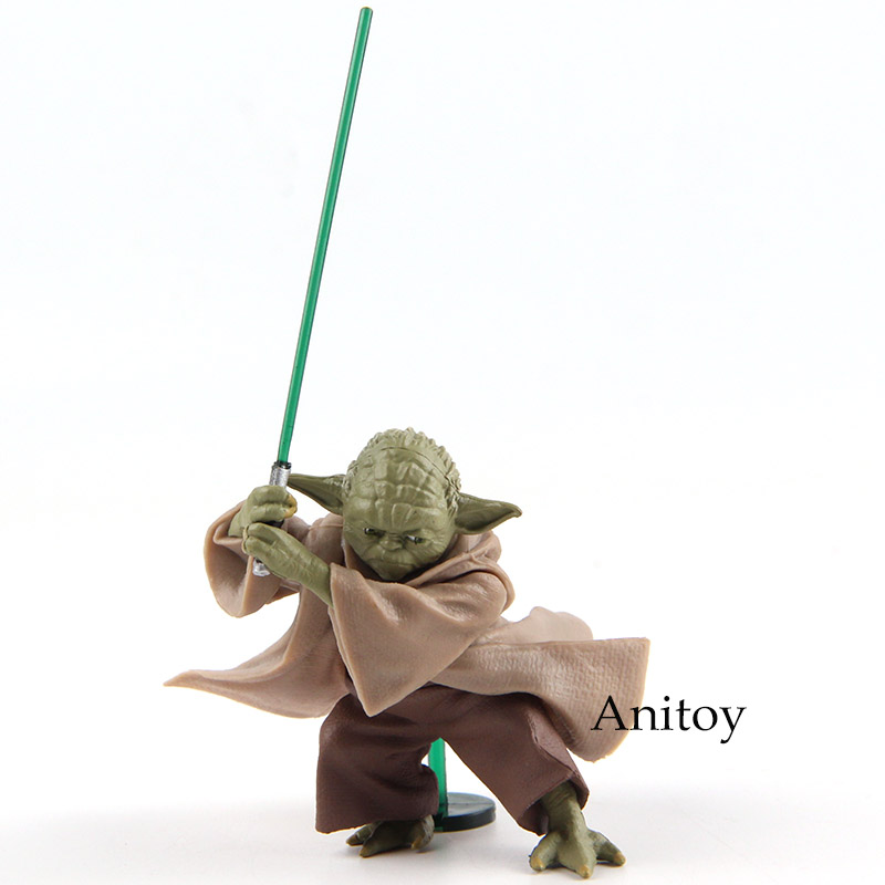 Anime Star Wars Jedi Knight Yoda with Lightsaber Mini PVC Action Figure Collectible Model Toy 6cm star wars jedi knight master yoda pvc action figures toys collection brinquedos great gifts for kids 5 12cm