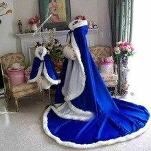Colorido personalizado impresionante azul real largo invierno capas nupciales boda capas Imitación Piel invierno boda caliente mantos de novia