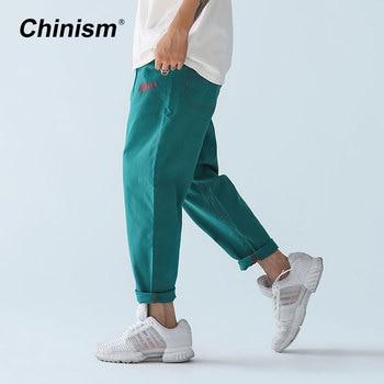 ca9cf904fdc CHINISM Лето Весна Новые Классические Брюки мужские Брендовые повседневные  брюки с вышивкой мужские брюки на шнурке