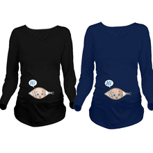 Cartoon Funny Maternity Shirts font b Pregnancy b font Long Sleeve Tee Shirt Pregnant Women Autumn