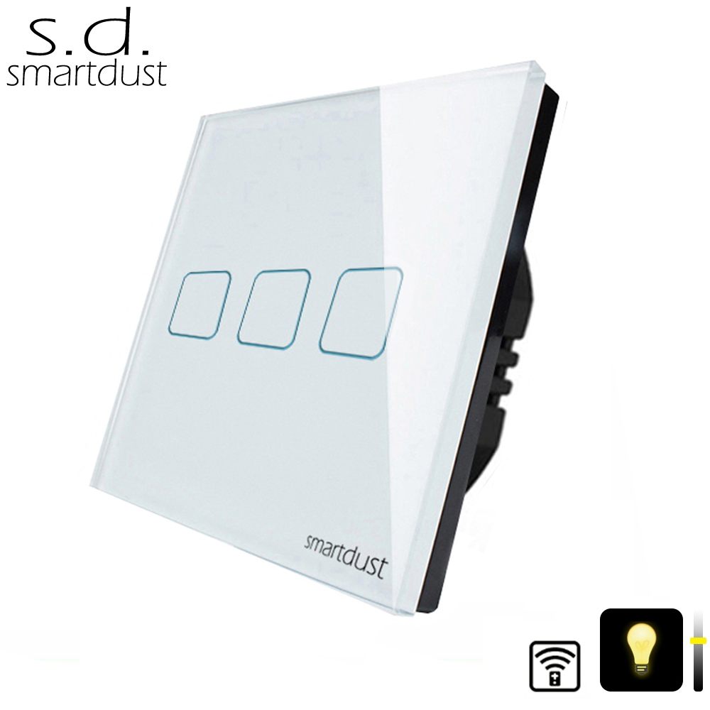 Smartdust EU Standard 3 Gang RF Switch Wireless Remote Dimmer Wall Interruttore Touch Remote Switch 220V