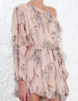 Women Folly Whimsy Playsuit Nude Floral Silk One Shoulder Playsuit With Ruffles Rompers