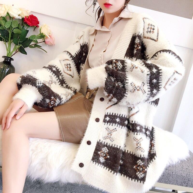 2018 Весна Зима Женский Длинный свободный мохер свитер женский кардиган свитер женский вязаный утолщенный верх