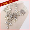 Fashion big crystal pearl bridal jewelry sets wedding necklace earrings chain atmospheric crystal pearl white wedding accessorie