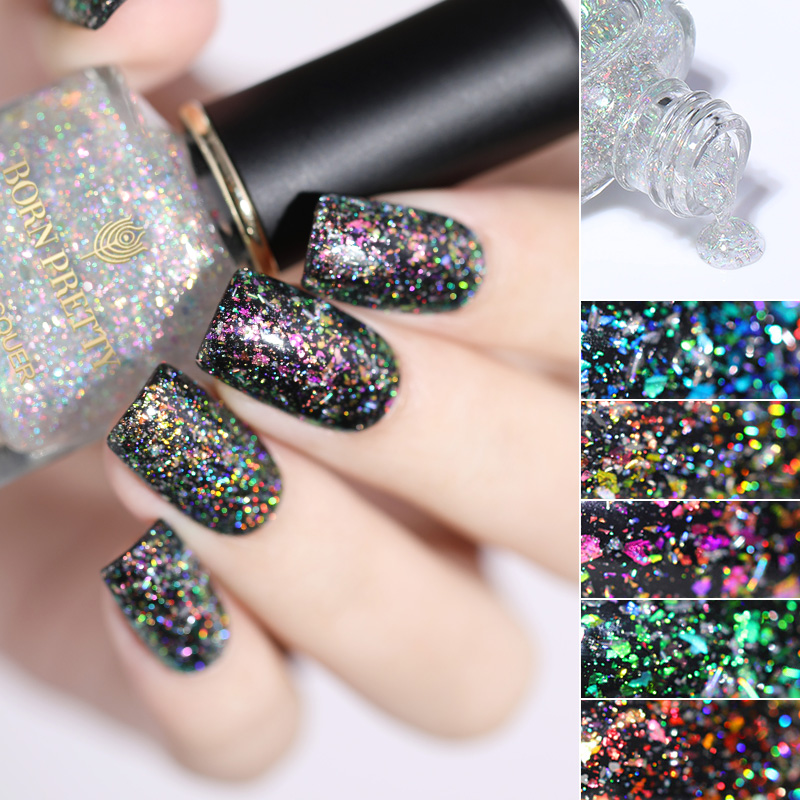 BORN PRETTY Chameleon Sequins Top Oil Nail Polish Bright Aurora Nail Art Top Coat Black Base Needed 1 Bottle Top