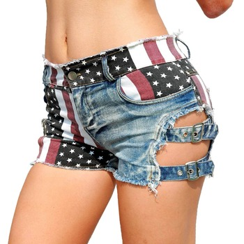 New 2019 Sexy Women's High Waist Hole Jeans Shorts American Flag Printed Daisy Duke Ripped Denim Shorts daisy printed empire waist handkerchief tankini