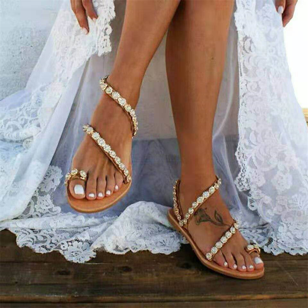 Women Sandals Gladiator 2019 Summer Casual Shoes Bohemia mujer Wedding Shoes Crystal feminina Ladies Flip Flops Beach Sandals