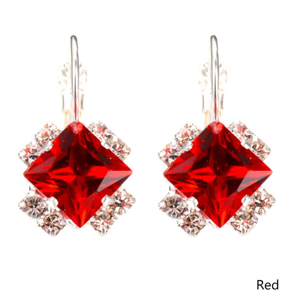 New Design Personality Luxury Earrings Square Crystal CZ Wedding Jewelry Hoop Earrings For Women Ear Clips