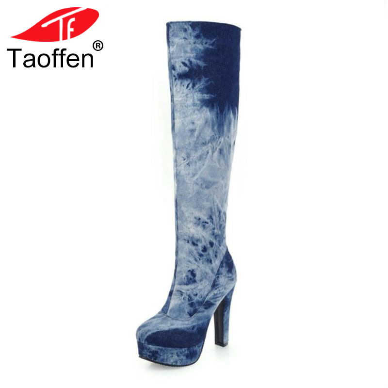 TAOFFEN Size 33-50 Ladies High Heel Boots Women Zipper Knee Thin Heels Boot Warm Winter Party Fashion Dating Female Botas Mujer цена