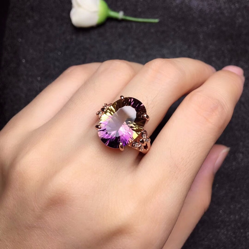 HTB1s9Kwa0fvK1RjSspoq6zfNpXai - Uloveido Big Purple Ametrine Gemstone Ring for Women