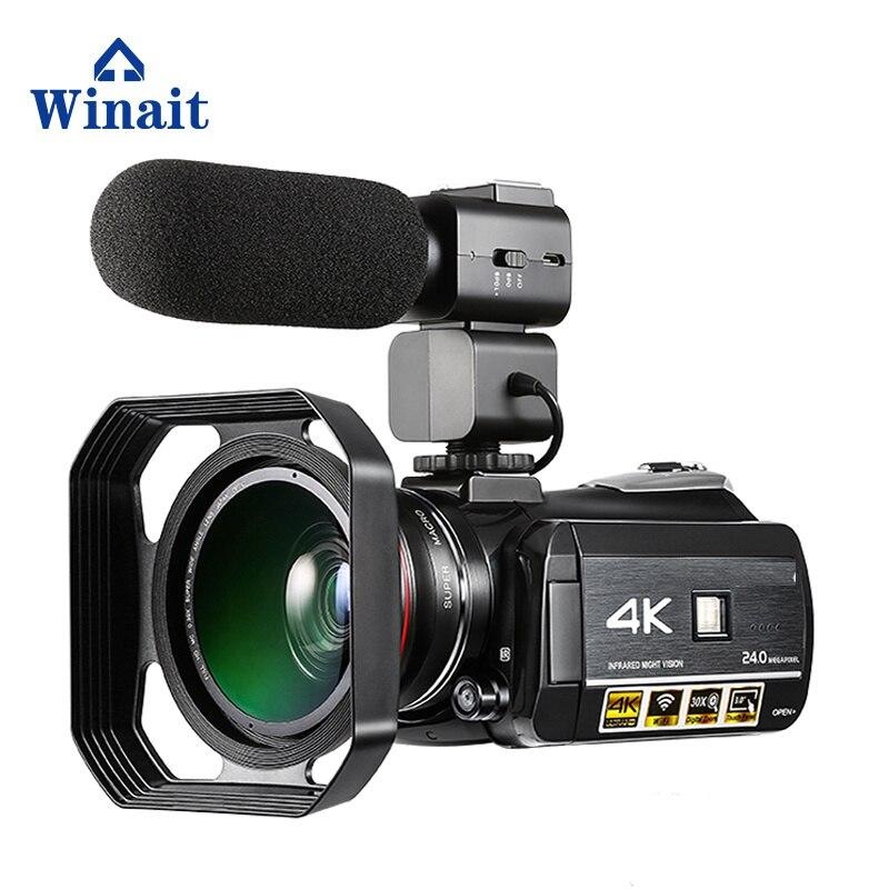 Winait HDV-AC3 UHD 4k wifi два светодио дный Новые 2018 Цифровая видеокамера Горячий башмак WI-FI ночного видения Цифровая видеокамера