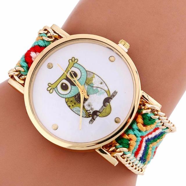 Quartz Bracelet Watch for Women Girls Cute Animal Owl Pattern Knitting Dial Z508