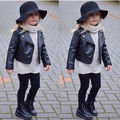 New Kids Girl Fashion Motorcycle PU Leather Jacket Biker Coat Overcoat Black