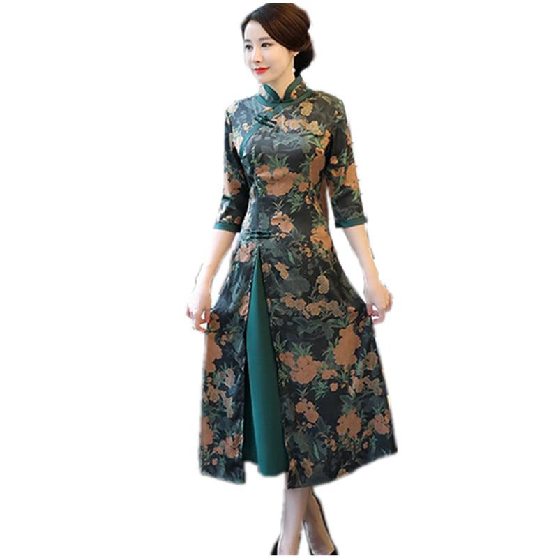 Cheongsam Femmes red Chinois Col Impression Longues Main Bouton Mandarin Vietnam Green Robe Mince Aodai Robes Qipao Vert 6HxqwR