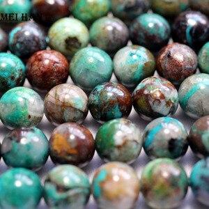Image 1 - Meihan hurtownia (38 kulek/zestaw/46g) 9.3 10mm naturalne A + chryzokola gładkie okrągłe luźne koraliki na projektowanie biżuterii DIY