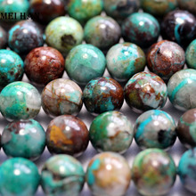 Meihan vente en gros (38 perles/ensemble/46g) 9.3 10mm naturel A + Chrysocolla lisse ronde perles en vrac pour la fabrication de bijoux conception bricolage