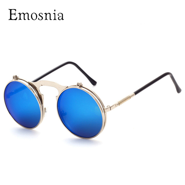 2f67d85f3d Emosnia Steampunk Sunglasses Women Vintage Brand Designer Round Sun Glasses  For Men And Ladies Retro Mirror Oculos De Sol UV400