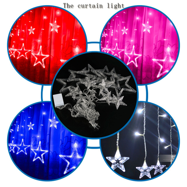 2017 Bulbs Globes Balls Five Pointed Star Fairy String Lights LED Lamps Christmas Party Decoration 220V LED Star Curtain Light