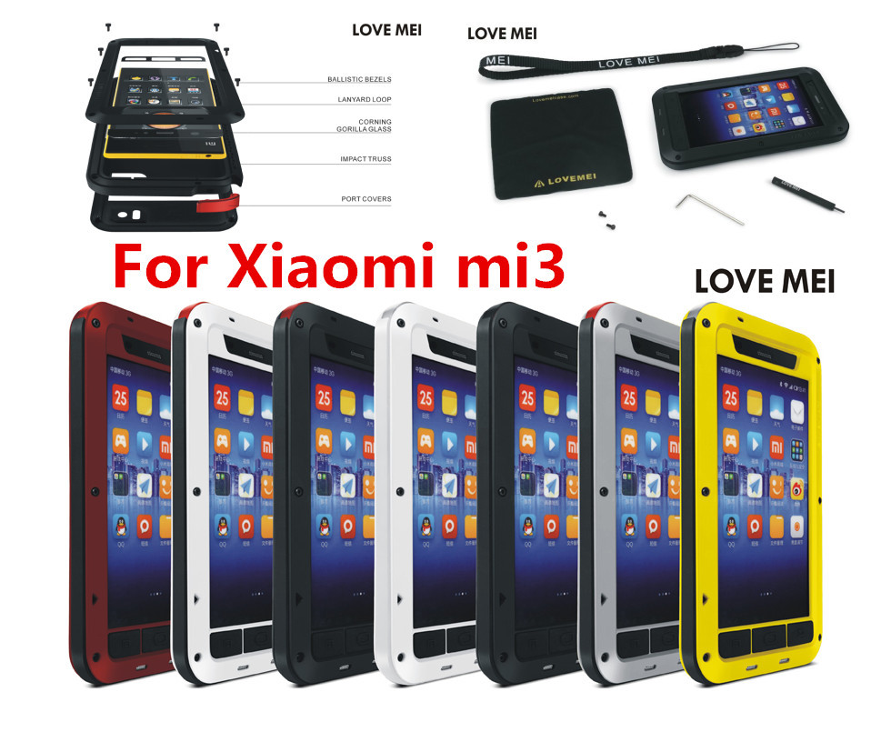 Xiaomi mi3 case mi 3 Original LOVE MEI Powerful Shockproof Dirtproof Waterproof Metal phone Cover Case