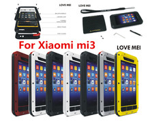 Xiaomi mi3 case mi 3 Original LOVE MEI Powerful Shockproof Dirtproof Waterproof Metal phone Cover Case MOQ:1PCS