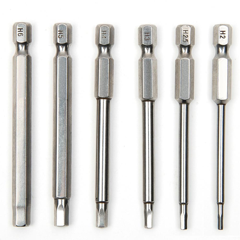 6 pcs 75mm S2 Acier Hexagone Intérieur Tête Perceuse Magnétique Tournevis Set Bits Tournevis Tournevis Kit Outils À Main