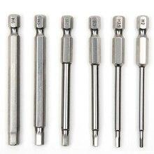 6 stücke 75mm S2 Stahl Innensechskant Kopf Magnetische Bohrmaschine Schraubendreher Set Bits Schraubendreher Schraubendreher Kit Handwerkzeuge