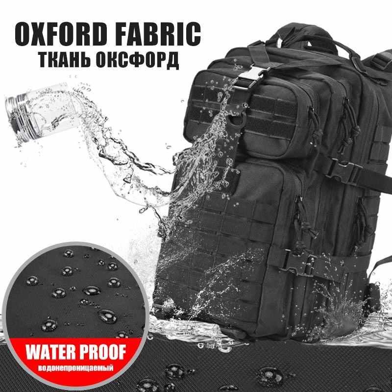 50L kapasiteli erkekler ordu askeri taktik büyük sırt çantası su geçirmez açık hava yürüyüşü kamp avcılık 3D sırt çantaları erkekler için