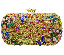 Pochette Soiree Wedding Bridal Accessories Handbags Luxury Crystal Clutch bags butterfly shape pattern crystal evening bag 88286