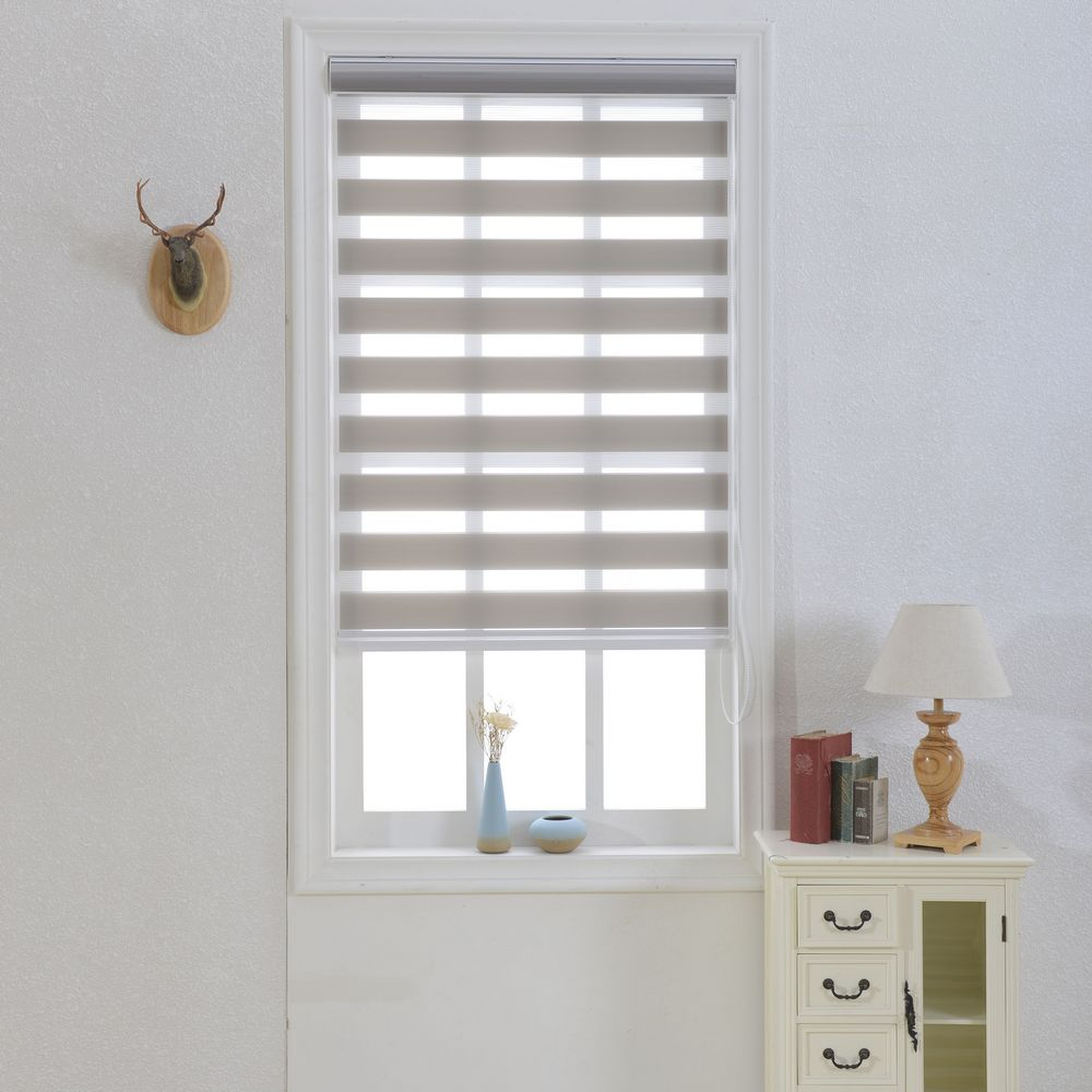 Zebra window curtains - Zebra Blinds In Grey Double Layer Roller Blinds Window Curtains For Living Room Custom Made Size