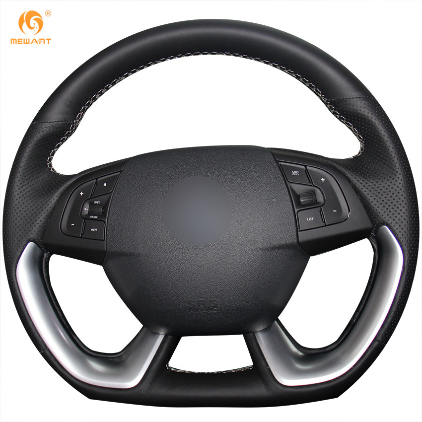 MEWANT Black Genuine Leather Car Steering Wheel Cover for Citroen DS5 DS 5 DS4S DS 4S diy top leather hand sewing car steering wheel cover black
