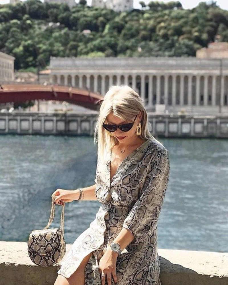 ALPHALMODA 2019, сексуальное платье с длинным рукавом и v-образным вырезом, с принтом змеи, с высокой талией, однобортное Короткое женское платье-рубашка