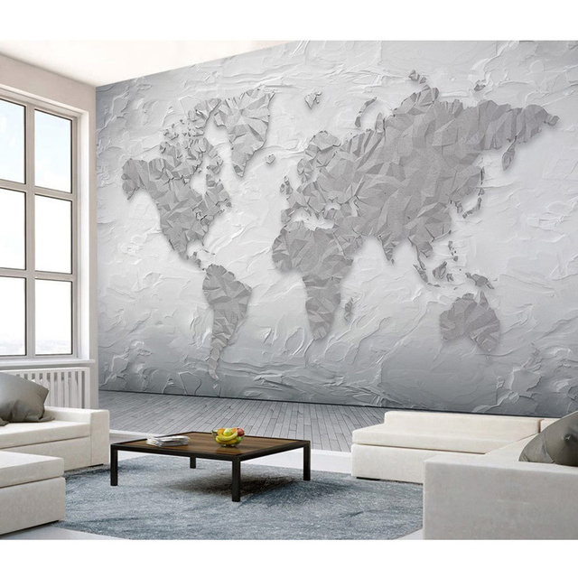 Creative 3D Stone Pattern Wall Papers World Map Wallpaper