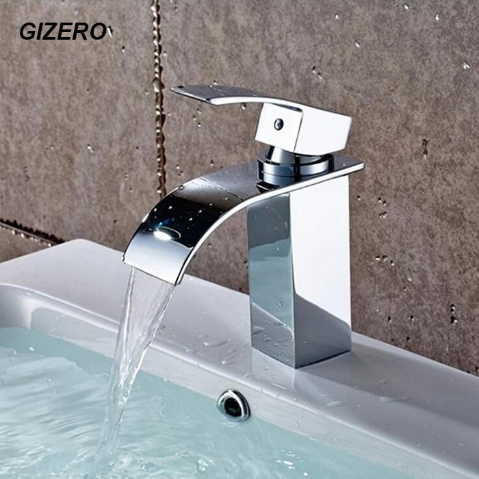 GIZERO Bathroom Waterfall Faucet Chrome Brass Polished Basin Deck Mounted Vanity Sink Mixer Taps ZR625GIZERO Bathroom Waterfall Faucet Chrome Brass Polished Basin Deck Mounted Vanity Sink Mixer Taps ZR625