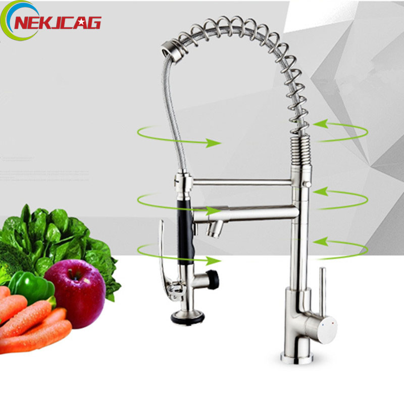 Solid Brass Spring Kitchen Faucet Pull Down Rotation Sprayer Spout Vessel Mixer Tap Swivel Dual Spout led spout swivel spout kitchen faucet vessel sink mixer tap chrome finish solid brass free shipping hot sale