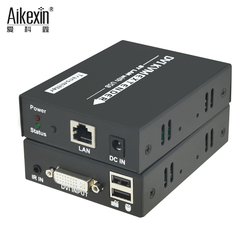 Aikexin DVI KVM Rj45 Extender 120m,DVI Over LAN UTP Cat5/Cat6 Extender with IR Support 1080P Keyboard and Mouse USB KVM Extender mirabox usb hdmi kvm extender up to 80m over cat5 cat5e cat6 cat6e lan rj45 single cable lossless non delay with mouse control