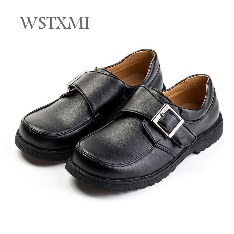 Boys Leather Shoes for Children Black Oxford Dress Wedding Shoes Kids Cowhide Etiquette School Shoes Rubber Sole(Little/Big Boy)