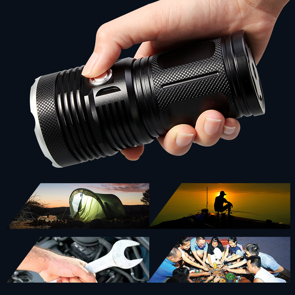 Купить с кэшбэком Ultra Powerful Flashlight 14*T6 LED Outdoor Lighting Waterproof 18650 Floodlight Torch Lantern Camping Light Lamp Hunting DT70