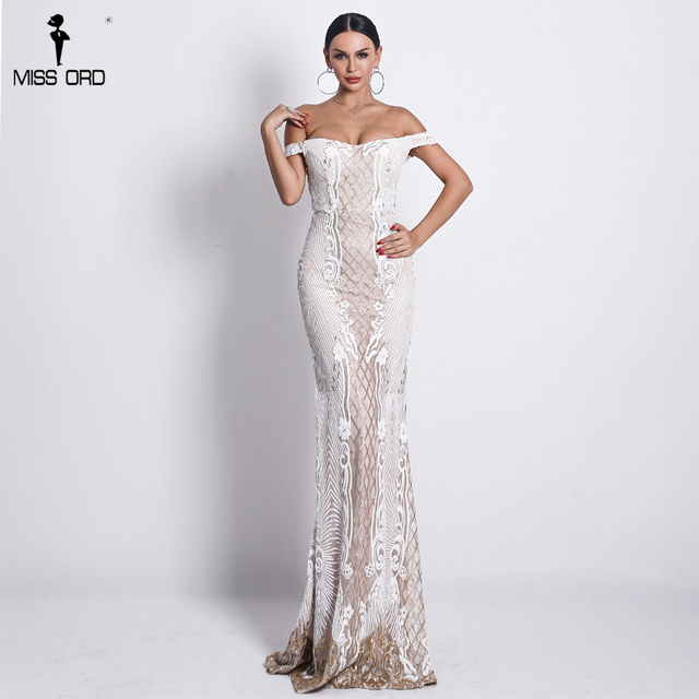 Missord 2019 Sexy One Shoulder Backless Sequin Dresses Female Elegant Retro geometry Party Bodycon Reflective Dress FT18623 2
