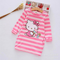 2017 New autumn girl dress stripe hello kitty Cute Cartoon pattern dresses cotton vestidos dress girl Side pockets girls clothes