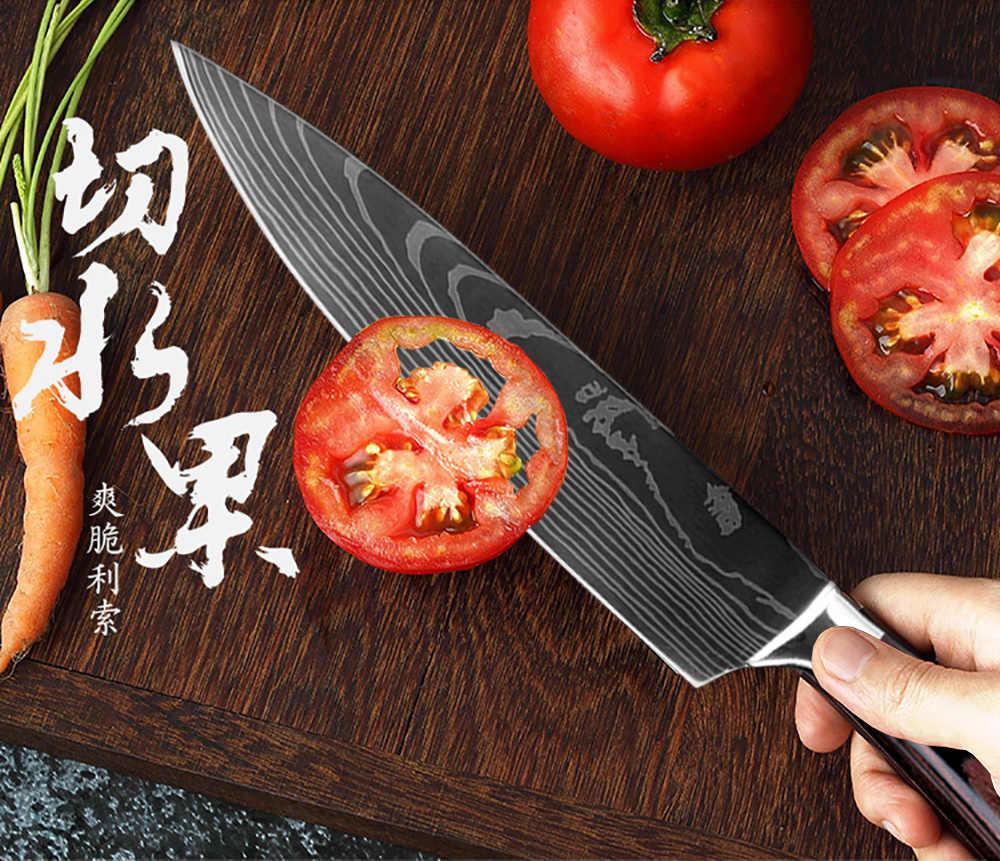"XITUO 8 ""นิ้วมีดครัวญี่ปุ่นเลเซอร์ดามัสกัสมีดเชฟ Sharp Santoku Cleaver Slicing Utility มีดเครื่องมือ EDC"