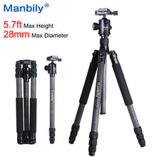 Manbily CZ308 Professional Carbon Fiber Tripod Monopod + Ball Head Portable Compact Travel Tripod For DSLR Camera Stand 28mm Leg