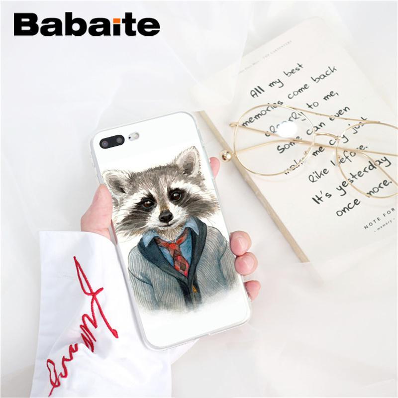 , Babaite Raccoon Art DIY Luxury Phone Accessories Case for iPhone 5 5Sx 6 7 7plus 8 8Plus X XS MAX XR Fundas Capa